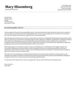 Sle Of Cover Letter