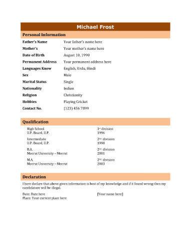 biodata templates general purpose
