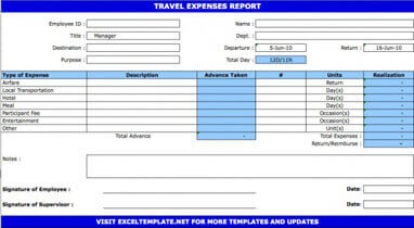 Free Travel Expense Report And Claim Form To Download Hloom