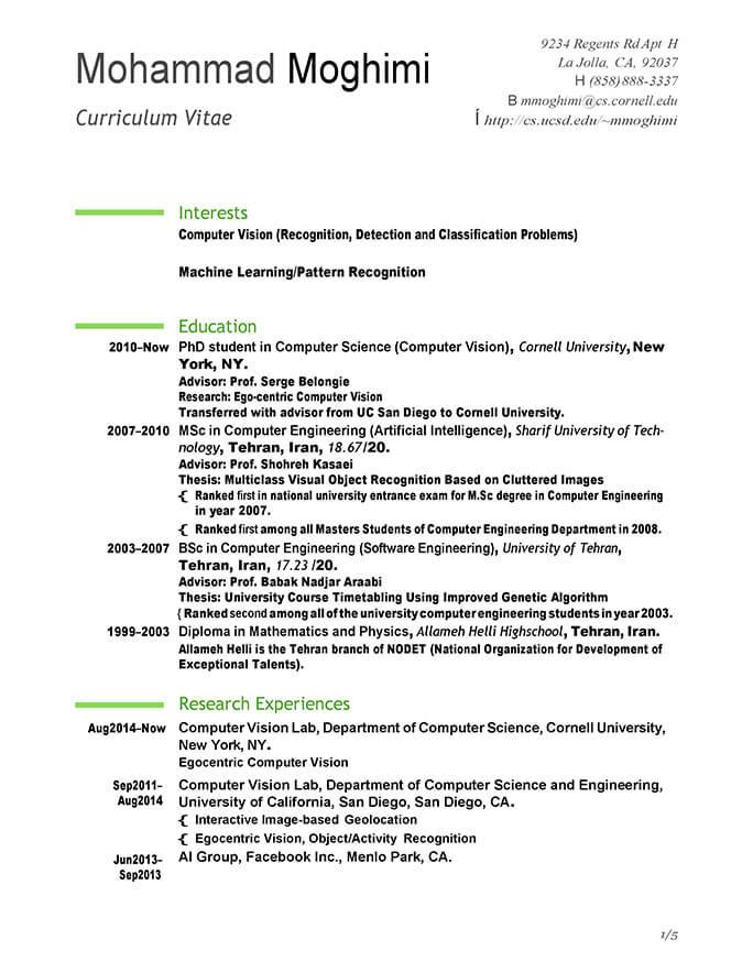 Modello Di Curriculum Per Stage E Suggerimenti Per