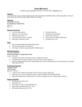 sample internship resumes