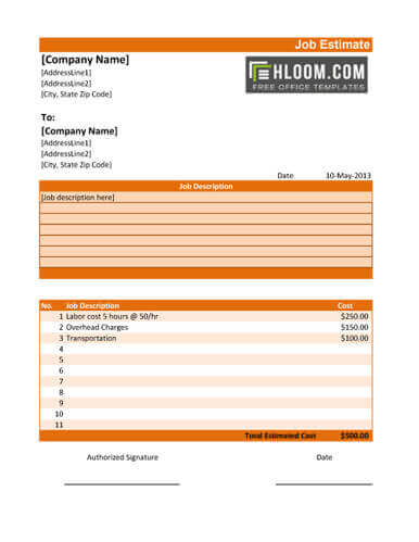 11 Job Estimate Templates And Work Quotes Excel Word Hloom