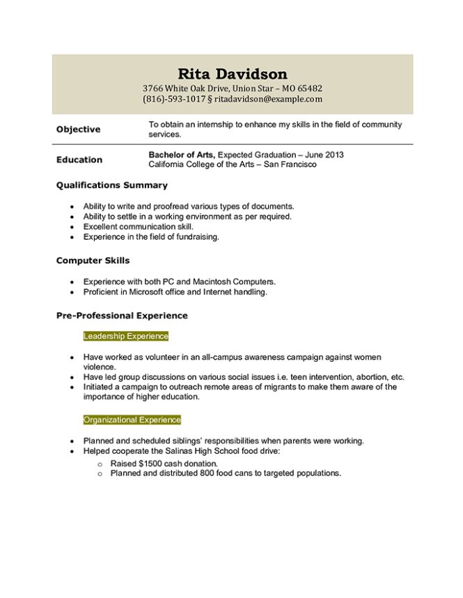 Student Resume Templates That Gets