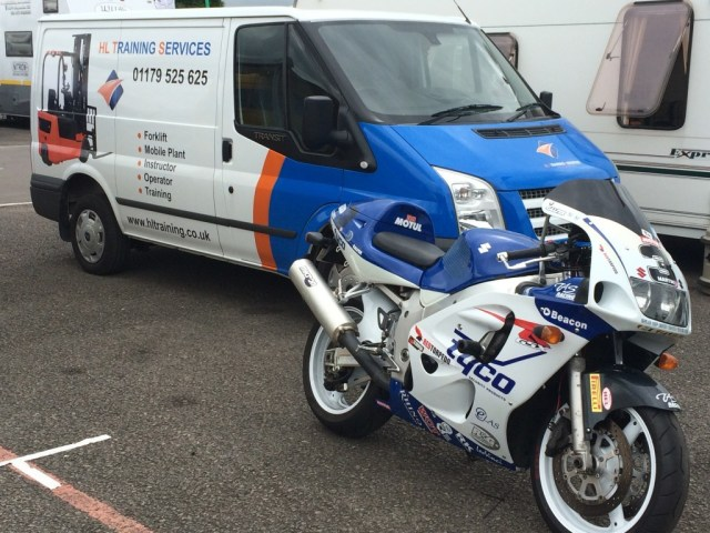 Suzuki GSXR 600 and wrapped Ford Transit