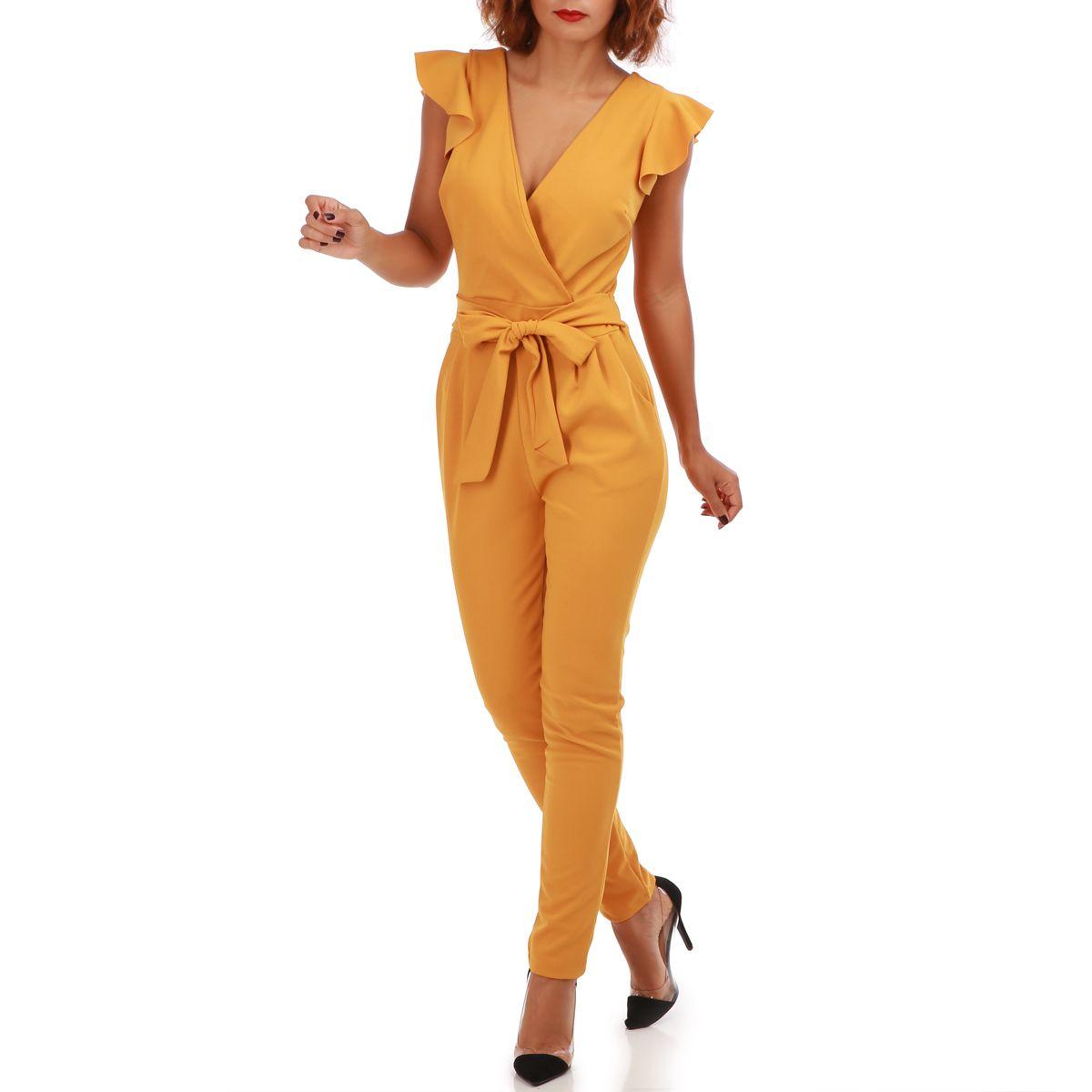 combinaison femme pas cher combinaison pantalon jaune moutarde a volants femme pas cher la www hmbusiness fr