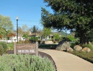 Yountville's First Fire House Marker - wide view looking southeast Photo, Click for full size
