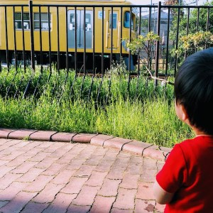Kid looking at the train