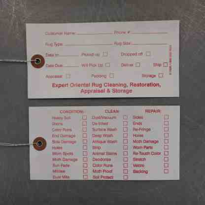 Rug Service Tags Front and Back
