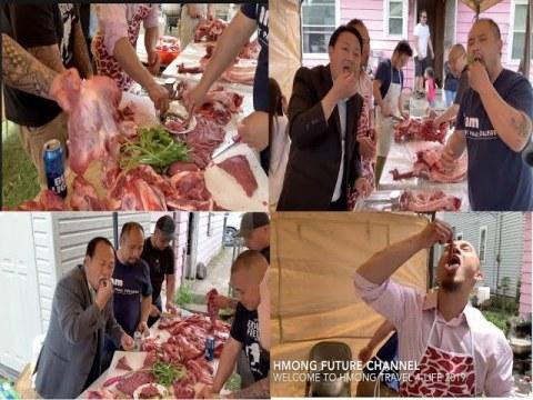Hmong Future Eating fresh raw beef...2019 noj qab tiag tiag