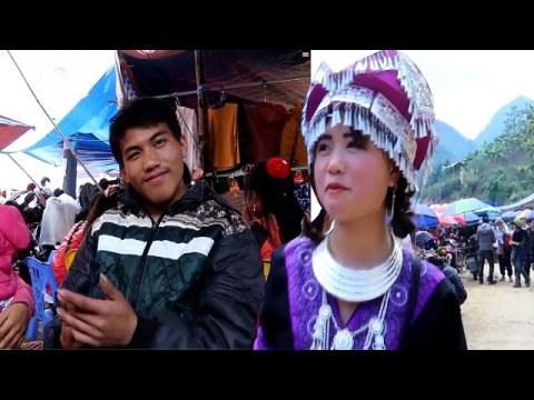 Bắt Gặp em gái Hmong Xinh Đẹp và Thánh ăn mèn mén tại chợ phiên vùng cao