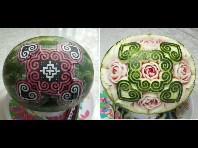 Watermelon Paj Ntaub Carving 6-18-2021