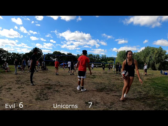 Evil vs Unicorn playoff game 1 Cheng Picnic   Coed Hmong Volleyball Tournament