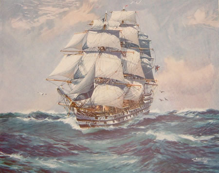 Painting of HMS Nile under sail