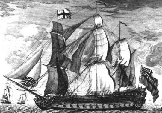 HMS Invincible, lost in 1801