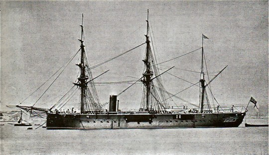 HMS Invincible off Plymouth, commissioning in 1870