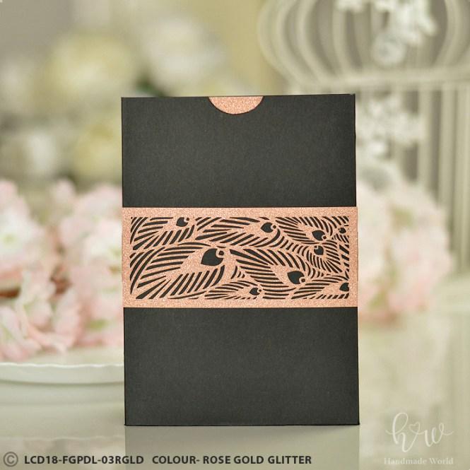 Delightful Leaf Smooth Glitter Cut Wedding Invitation Belly Bands Lcd18