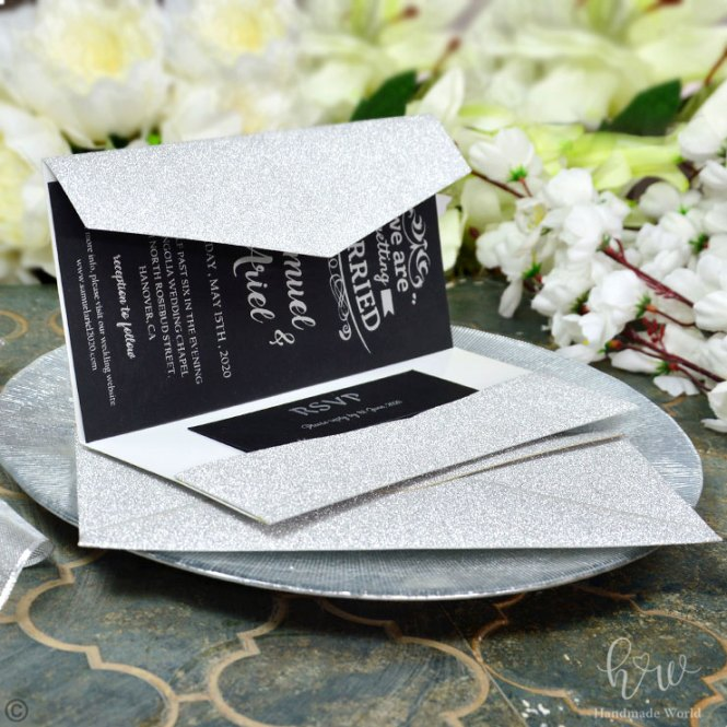 Posh Smooth Glitter Modern Wedding Cards Dl Size Tri Prt Fgpdl