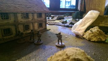 Assault team runs past the worst smoke grenade but the SAW gunner gets caught in the open by the snipers in the bridge