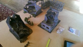 Board setup, ammo caches in the middle of the industrial wasteland. Brits at the bottom of the board, Yanks at the top