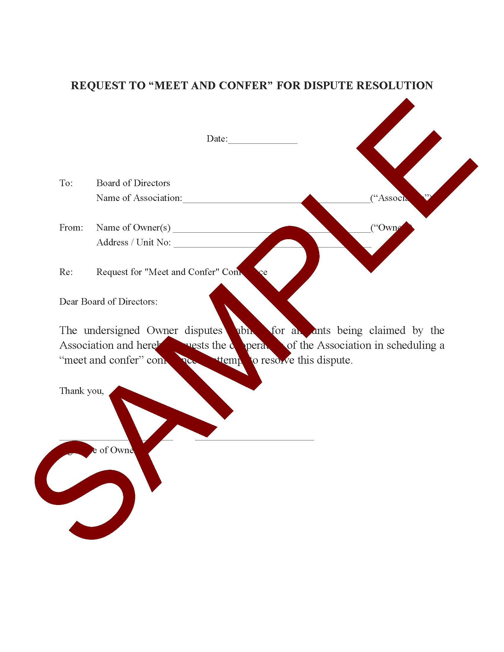 Sample Homeowners Dispute Letter