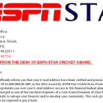 Picture about ESPN Star Cricket Award E-mails