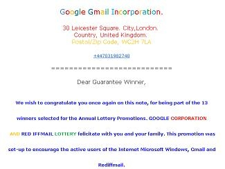 Picture about Google GMail Corporation Lottery E-Mails