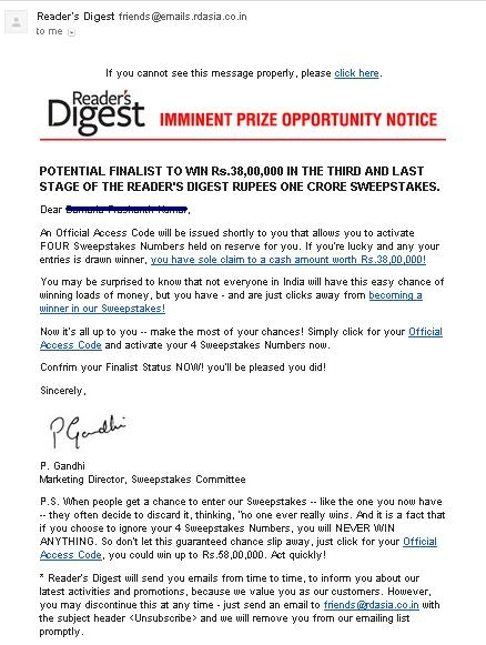 Picture about Readers Digest Sweepstakes Email