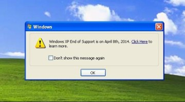 Picture: Pop-ups, Windows XP Support Ends on April 8th 2014