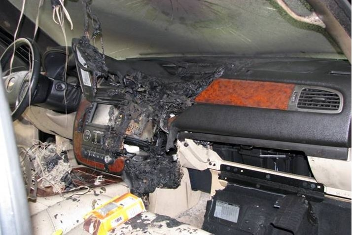 Picture about GPS Attached to Car Windshield Overheated and Exploded