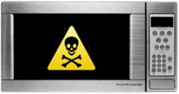 Picture Suggesting Dangers and Side Effects of Microwave Cooking