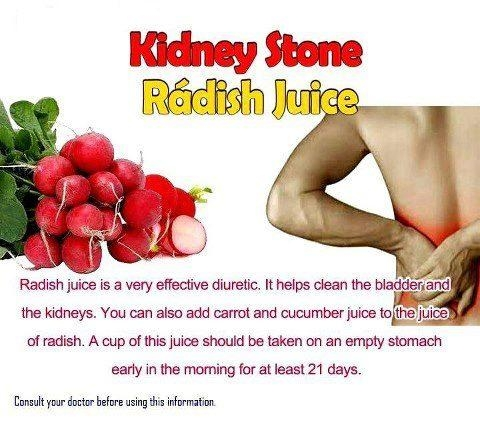 Picture Suggesting Radish Juice for Treating Kidney Stones