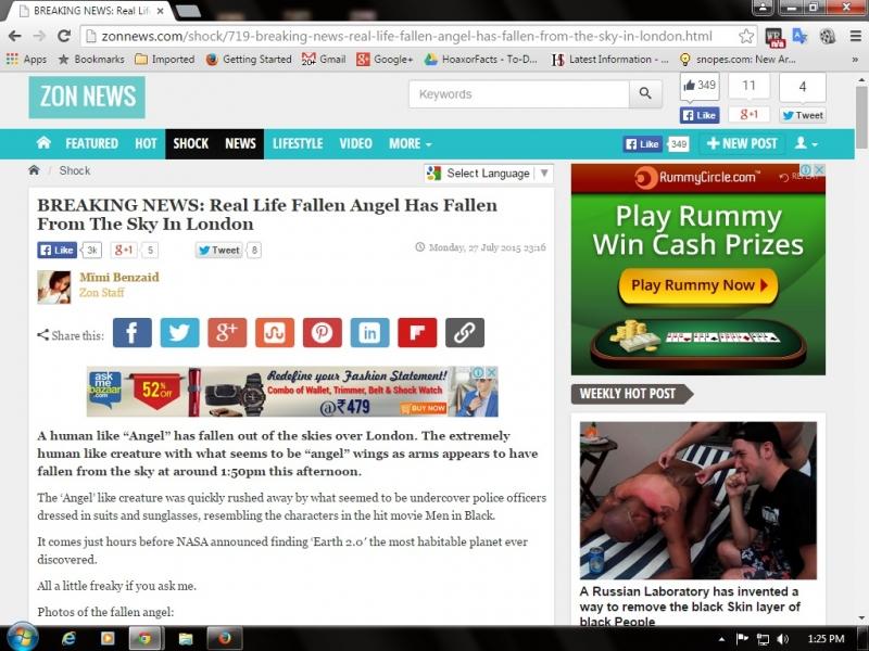 Screenshot of Fallen Angel article on Zon News website