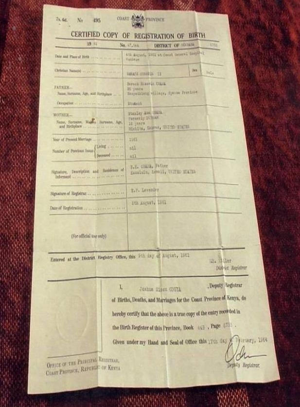 Picture Suggesting Obama's Kenya's Birth Certificate Found