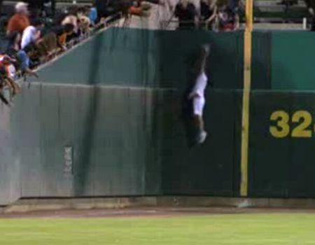 Screenshot of Video of Amazing Baseball Catch by a Ball Girl