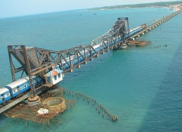 Picture about Pamban Bridge - A True Undying Story of Weeping Man Statue