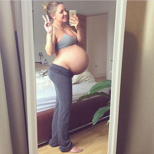Original photograph of a regular pregnant mother