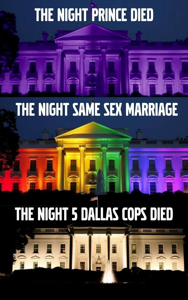 Image Depicting White House Not Honoring the Death of Dallas Cops