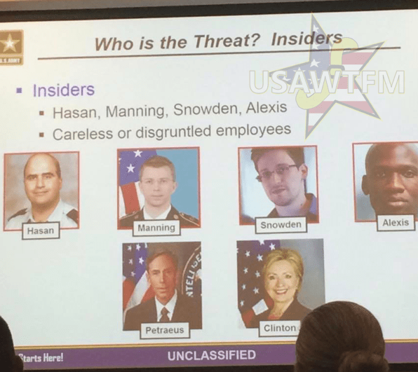 Picture Suggesting United States Army Slide Labeled Hillary Clinton as an Insider Threat