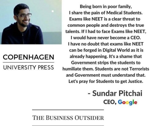 Picture about Sundar Pichai Fake Quote on Exams like NEET