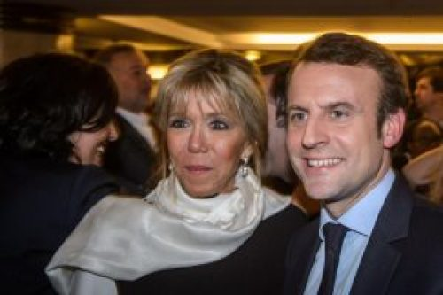 Picture of French President Emmanuel Macron and Brigitte Trogneux