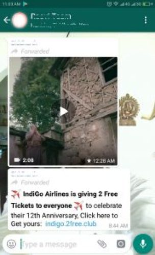 Image of Indigo Airlines free tickets message scam on WhatsApp