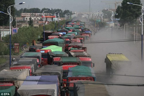 Picture of Long Traffic Jam in China in August 2010