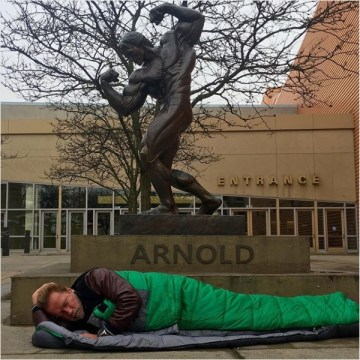 Picture about Arnold Schwarzenegger Sleeping Outside Hotel