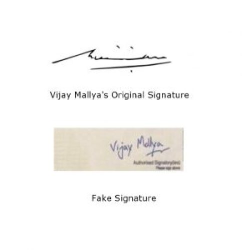 Picture about Vijay Mallya signature comparison