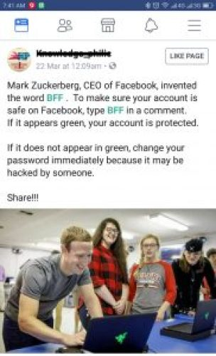 Image of Typing BFF Comment on Facebook to Check If Your Account is Hacked