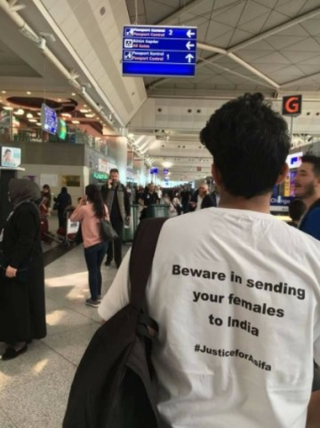 Justice for Asifa T-Shirt Pictures at Istanbul Airport