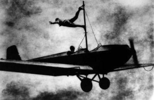 Image of Richard Schindler practices a stunt. 1919