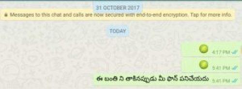 Screenshot of Telugu Message Don't Touch Here Your WhatsApp Hangs