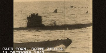 Image about 64-Foot Megalodon Shark Swimming Behind Nazi U-Boats