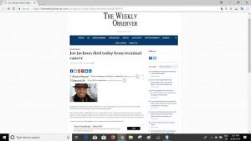 Screenshot of article on The Weekly Observer website